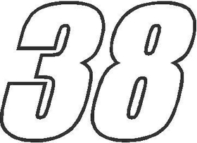 38 Race Number Impact Font Decal / Sticker