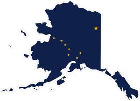 Alaska State Outline Flag Decal / Sticker 01