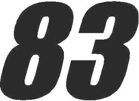 83 Race Number Impact Font Decal / Sticker