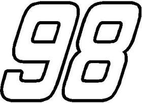 98 Race Number OUTLINE Nascar Decal / Sticker