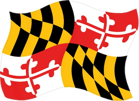 Maryland State Flag Waving Decal / Sticker