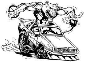Bear Mascot in Car Decal / Sticker