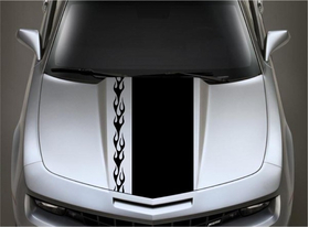 10/2 Inch Off-Set Flaming Racing Stripe Decal / Sticker