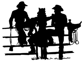 Fence Cowboys Mascot Decal / Sticker 1