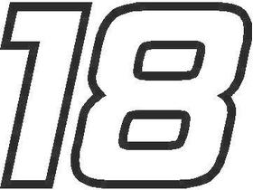 18 Race Number Hemihead Font Decal / Sticker