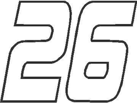 26 Race Number Outline Decal / Sticker