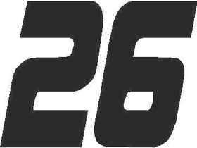 26 Race Number Solid Decal / Sticker
