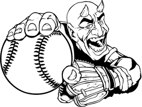 Baseball Devils Mascot Decal / Sticker