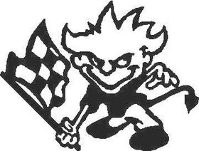 Devil Boy with Checkered Flag Decal / Sticker Design 1