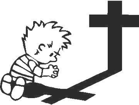 Boy With Cross Decal / Sticker