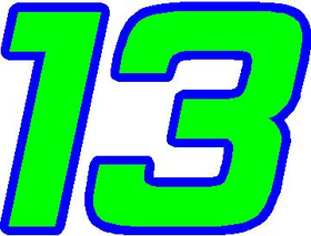 13 Race Number 2 Color Bahamas Font Decal / Sticker