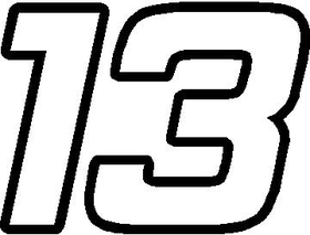 13 Race Number Bahamas Font Decal / Sticker
