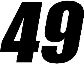 49 Race Number Impact Font Decal / Sticker