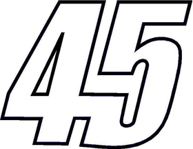 45 Race Number Decal / Sticker OUTLINE