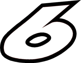 6 Race Number Decal / Sticker OUTLINE