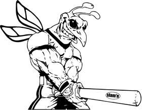 Baseball Hornet, Yellow Jacket, Bee Mascot Decal / Sticker