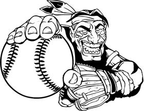Baseball Braves / Indians / Chiefs Mascot Decal / Sticker Pitcher