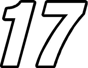 17 Race Number Decal / Sticker  OUTLINE
