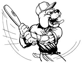 Baseball Bulldog Mascot Decal / Sticker 10