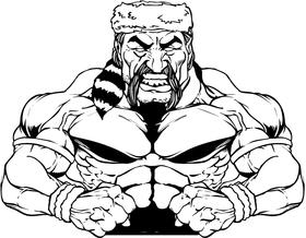Weightlifting Frontiersman Mascot Decal / Sticker
