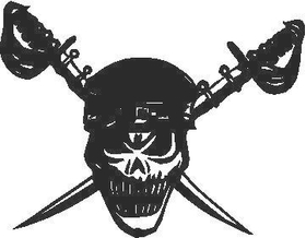 Skull and Swords Decal / Sticker 6C