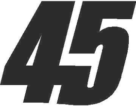 45 Race Number Decal / Sticker SOLID