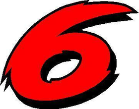 6 Race Number 02 2 Color Decal / Sticker