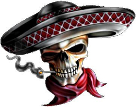 Smoking Sombrero Skull Decal / Sticker 01