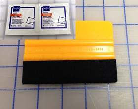 zx Yellow Felt Installation Squeegee and Alcohol Prep Pad Kit