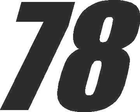 78 Race Number Impact Font Decal / Sticker