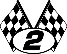 2 Checkered Flags Decal / Sticker