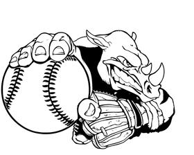 Rhinos Baseball Mascot Decal / Sticker