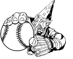 Wizards Baseball Mascot Decal / Sticker