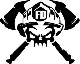 Firefighter Skull Decal / Sticker 01