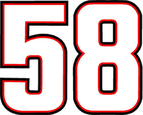 58 Race Number Decal / Sticker b