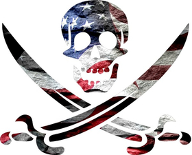 American Flag Skull and Crossed Swords  Decal / Sticker 26