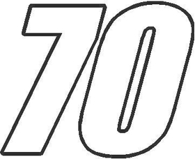 70 Race Number Impact Font Decal / Sticker