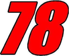 78 Race Number 2 Color Impact Font Decal / Sticker