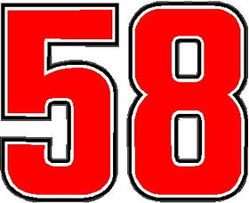 58 Race Number Decal / Sticker