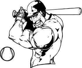 Baseball Devils Mascot Decal / Sticker Batting