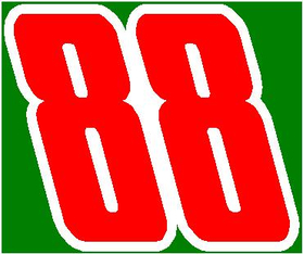88 Race Number 2 Color Impact Font Decal / Sticker