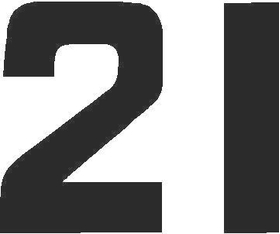 21B Race Number Solid Decal / Sticker