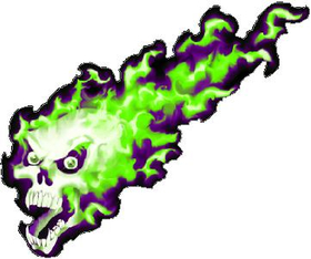 Green and Purple Flaming Skull Decal / Sticker