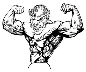 Weightlifting Buffalo Mascot Decal / Sticker wt3