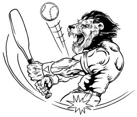 Baseball Lions Mascot Decal / Sticker 1