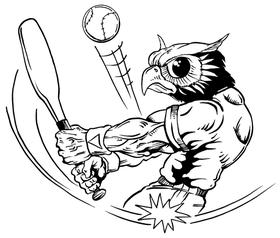 Baseball Owls Mascot Decal / Sticker 1