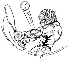 Baseball Tigers Mascot Decal / Sticker 1