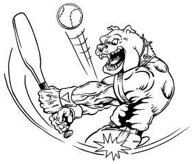 Baseball Bulldog Mascot Decal / Sticker 04