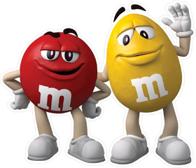 Red and Yellow M&M Decal / Sticker 58