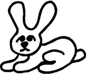Bunny Rabbit Stick Figure Decal / Sticker 02